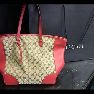 Gucci Red Canvas Bree Tote Bag